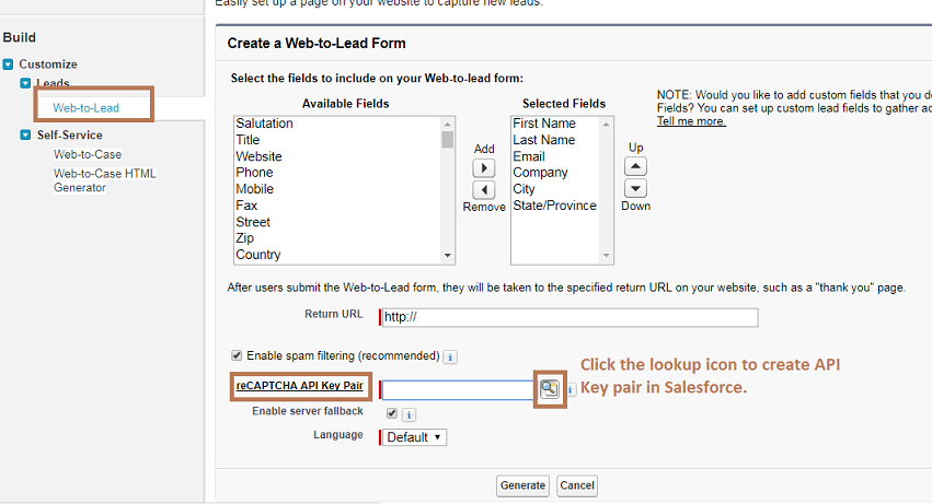 Create API Key Pair In Salesforce