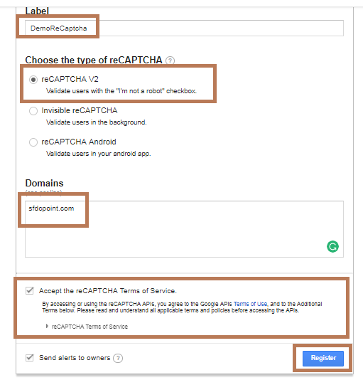 Register for ReCaptcha API Key with Google.