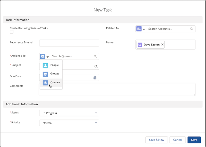 Salesforce Spring 20 New Task