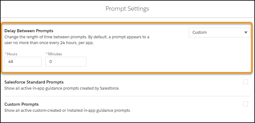 Salesforce Spring 20 Prompt Settings