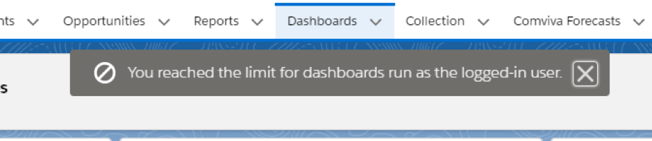 run out of Dynamic Dashboard Error