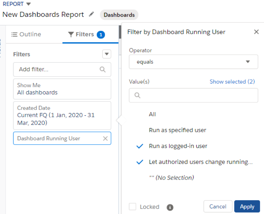 run out of Dynamic Dashboard Report Setting