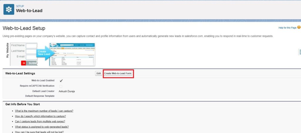 Web To Lead Salesforce setup