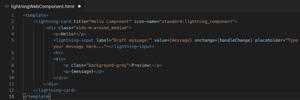 Lightning Web Components(LWC) HTML file